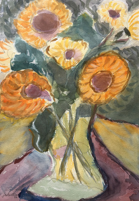 A semi-abstract watercolor still life of golden sunflowers in a vase.