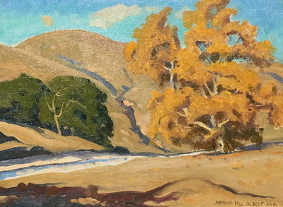 Title: Cottonwood in Autumn , Date: c. 1930's , Size: 9 x 12 , Medium: Oil on Canvas/Board , Price: $7,500