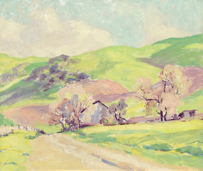 Title: Ranch in Green Hills , Date: c. 1930's , Size: 15 x 18 , Medium: Oil on Board , Price: $7,500