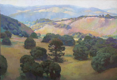 Title: View Towards Carmel Valley , Date: 2018 , Size: 40 x 60 , Medium: Oil on Linen Laid Down on Board , Price: $25,000