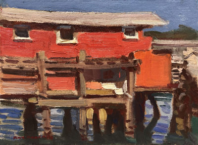 Title: Monterey Wharf , Date: 2019 , Size: 9 x 12 , Medium: Oil on Canvas/Board , Price: $2,300