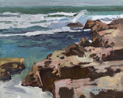 Title: Pacific Grove Coastline , Date: 2019 , Size: 8 x 10 , Medium: Oil on Canvas/Board , Price: $1,200