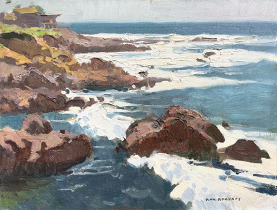 Title: Cambria Coast , Date: 2019 , Size: 12 x 16 , Medium: Oil on Canvas/Board , Price: $3,200