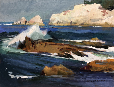Title: White Rocks at Pt. Lobos , Date: 2019 , Size: 12 x 16 , Medium: Oil on Canvas/Board , Price: $3,200
