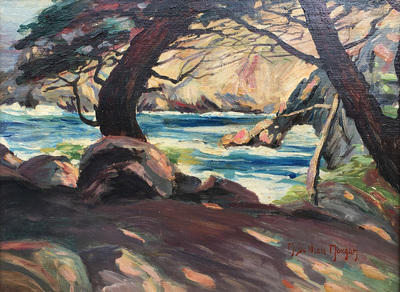 Mary DeNeale Morgan - Point Lobos - Oil on Canvas Laid Down on Board - 12 x 16