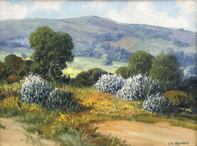 Title: Ceanothus Near Monterey, Calif. , Date: c. 1940's , Size: 12 x 16 , Medium: Oil on Canvas/Board , Price: $9,500