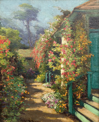 Title: Vine Clad Cottage, Pacific Grove , Date: c. 1920's , Size: 16 x 13 , Medium: Oil on Canvas Laid Down on Board