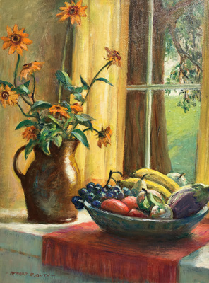 Title: Still Life By The Window , Date: c. 1938 , Size: 24 x 18 , Medium: Oil on Canvas/Board , Price: $8,500