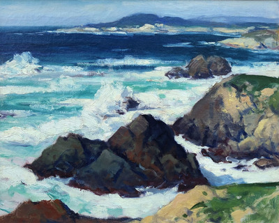 Title: Point Lobos from Carmel Highlands Coast , Date: c. 1920's , Size: 24 x 30 , Medium: Oil on Canvas , Price: $9,500