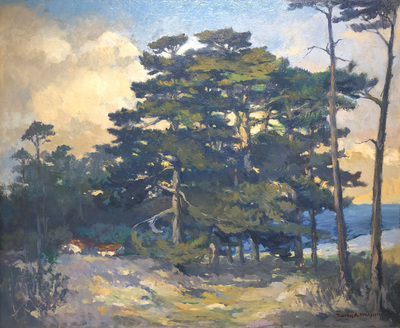 Title: Pines, Pebble Beach , Date: c. 1930's , Size: 30 x 36 , Medium: Oil on Canvas , Price: $27,500