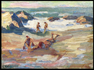 Colorful coastal painting with figures lying and playing on the beach, probably at Land's End near San Francisco, California.