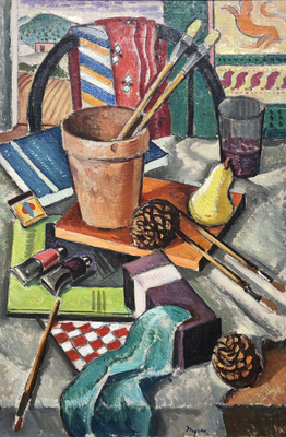 A circa 1932 Modernist still life of colorful art supplies and props on a table in the artist's studio.