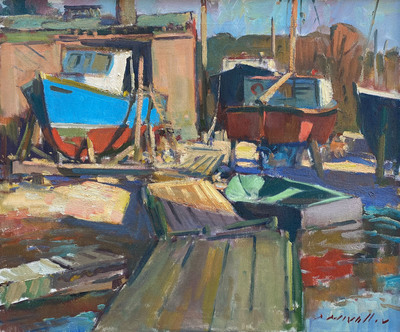 Title: Montgomery's Boat Yard (Gloucester, MA) , Date: 1990 , Size: 20 x 24 , Medium: Oil on Canvas , Price: $5,500