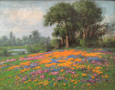 Title: Wildflowers on a Hillside , Date: c. 1910's , Size: 11 x 14 , Medium: Oil on Canvas Laid Down on Board , Price: $17,500