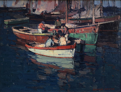 Title: Breton Fishermen, Concarneau, France , Date: c. 1920's , Size: 16.25 x 20.25 , Medium: Oil on Canvas