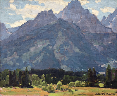 Title: Sierra - Green Valley , Date: c. 1920's , Size: 15.5 x 19.5 , Medium: Oil on Canvas