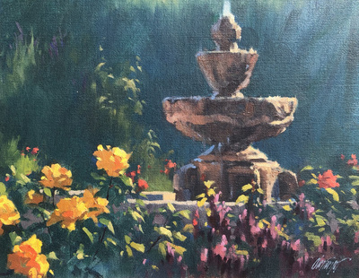 Title: The Mission Garden - Carmel , Date: 2003 , Size: 11 x 14 , Medium: Oil on Canvas/Board , Price: $2,100