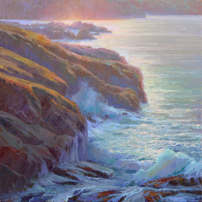 Title: Morning Light - 1, Point Lobos , Date: 2019 , Size: 30 x 30 , Medium: Oil on Canvas , Price: $3,250