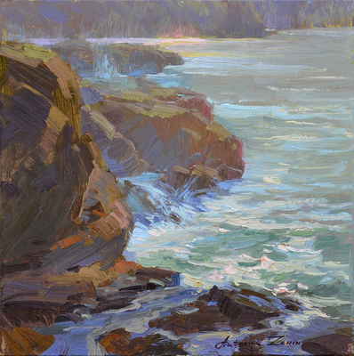 Title: Morning Light - 2, Point Lobos , Date: 2019 , Size: 12 x 12 , Medium: Oil on Linen Board , Price: $1,000