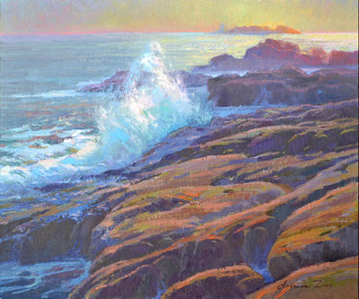 Title: Evening Glow, Point Lobos , Date: 2019 , Size: 20 x 24 , Medium: Oil on Linen Board , Price: $2,750