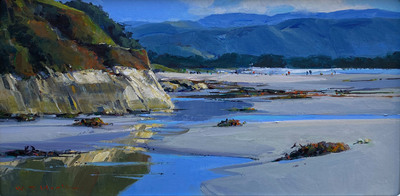 Title: After High Tide, Carmel #4101 , Size: 12 x 24 , Medium: Acrylic on Canvas , Price: $6,500