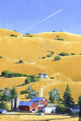 A farm sits at the base of a golden, oak-studded hilside as a jet flies overhead.  A classic California landscape.