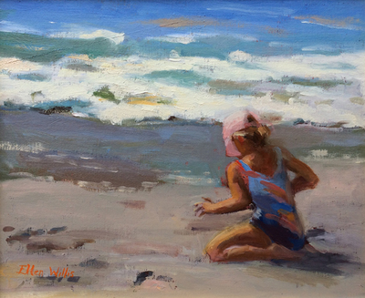 Title: Pink Hat on Carmel Beach , Date: 2014 , Size: 10 x 12 , Medium: oil on linen laid down on board