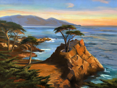 Title: Lone Cypress , Date: c. 2017 , Size: 30 x 40 , Medium: Oil on Canvas , Price: $5,350